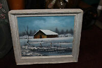 Everet Woodson Signed Oil Painting Small Barn In Snow Fields Country Decor