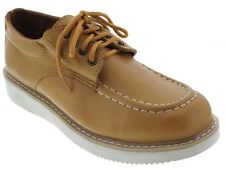 Mens Light Brown Leather Shoes Tough Durable Casual Dress Lace Up Sneakers