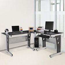 Homcom Glas Computertisch Eckschreibtisch PC Tisch Bürotisch mit Sicherheitsglas