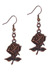 Antiqued Vintage Rose Style Fashion Dangle Earrings Assorted Color Copper Silver