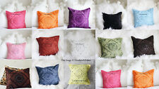 Cushion Cover Indian Mirror Embroidered Work Cotton Pillow Case Cover Throw 16""