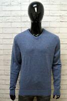 TOMMY HILFIGER Uomo Taglia XL Maglione Pullover Sweater Man Lana d'Agnello Blu