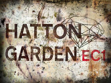 HATTON GARDENS  LONDON STREET METAL SIGN:WALL PLAQUE:MAN SHED:HOME PUB:GIFTS