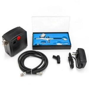 Portable Airbrush Compressor Kit Dual Action Spray Air Brush Tattoo Nail Tool US