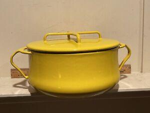 Vintage Mid Century Dansk Kobenstyle YELLOW Enamelware TWO (2) Quart Stock Pot