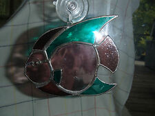 Wavy Stained Glass And Metal Fish, Very Sturdy, Exquisite A Mild Color of Depth.