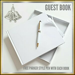 WEDDING GUEST BOOK PLAIN WHITE IN BOX ~ BLANK TO DECORATE OR MAKE PERSONALISED
