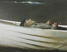 Vintage Art Andrew Wyeth 1982 Adrift Boat Sea Ocean Water Sleep Asleep Man Death