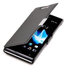 Sony Xperia J funda bolsa Slim Case protección, estuche, protección Wallet Cover negro