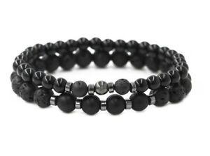 2x Piece Men's Stone Bead Charm Bracelet Wristband Natural Lava Stone For Men UK