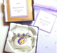 Betty Boop Enamel Charm Bracelet Personalised Box Tag & Bag Christmas gift idea