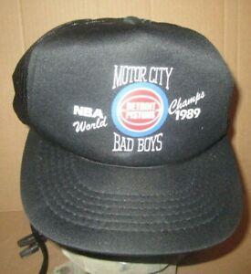 Vintage 1989-90 Detroit Pistons Mesh Hat Motor City Bad Boys NBA World Champs