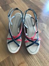 Studio Pollini Wedge Sandals, EU 35 UK 2.5 Red and Blue, Worn for 2 Hours Only!