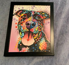 Dean Russo Smiling Pitbull Print 8x10 with Frame Dog Art