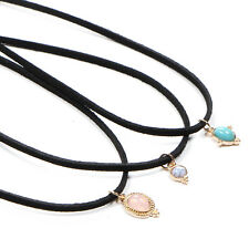 3pcs Vintage Turquoise Natural Stone Pendant Choker Leather Cord Necklace Gift