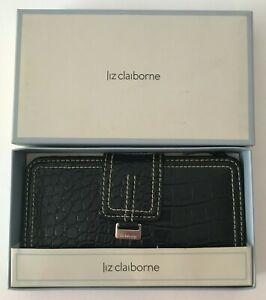 Liz Claiborne Black Vegan Faux Leather 6-Card Slots Zipper Coin Slot Wallet NIB