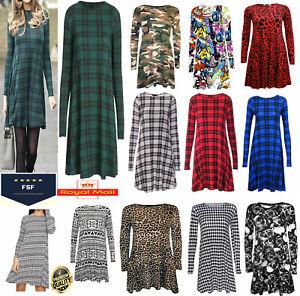 Women Ladies Long Sleeve Swing Dress Printed A Line Skater Dress Top Size 8-26