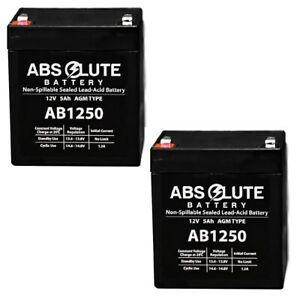 2 PACK NEW AB1250 12V 5AH SLA Replacement Battery Securitron PSM24 Alarm