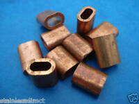 10 x COPPER FERRULES TO SUIT 3.0MM STAINLESS STEEL WIRE ROPE ( FREE POSTAGE )