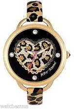 Betsey Johnson Women's BJ00067-14 Analog Leopard Pattern Heart Dial Watch