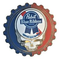 "Grateful Dead Pabst Blue Ribbon Lapel Pin - Steal Your Face 1"" 1/2 inch Metal Pi"