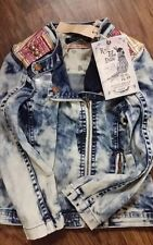 NWT SCOTCH R'BELLE ACID WASH DENIM BIKER JACKET WITH STUDS AND TAPESTRY  SIZE 6