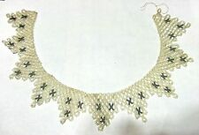 New Handmade Clear Mini Seed Bead/Black Beads Scalloped Bib Collar Dress Sweater