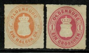 Germany Oldenburg #22,23 1867 Mint No Gum