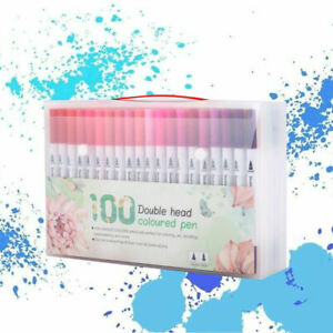 100 Colour Dual Twin Tip Brush Pens Set Watercolor Art Drawing Paint Marker Gift