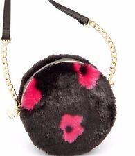 NEW Betsey Johnson Trolls Fur Crossbody Canteen purse handbag round bag $85