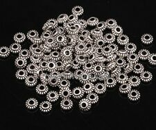 100pcs Antique Silver Tone Zinc Alloy Wheel Gear Shape Spacer Beads Findings 6mm