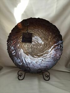 Artistic Accents Hand Decorated Bowl/Plate Gold, & Brown Made in Turkey