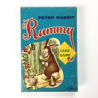 Vintage Peter Rabbit RUMMY Card Game, Fairchild, box 19¢ cents, deck, playing