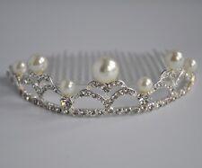 Silver ivory pearl & clear crystal/diamante tiara comb/hair comb. Wedding/Bridal