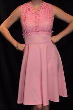 M~L Pink Vtg 1960s 1970s Alfred Werber Mod Mini 60s 70s Dress Lace Bodice Empire