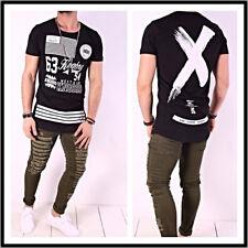 Oversize T-Shirt X Schwarz Weiß Herren Kingz Design Style Luxus  Long Neu XS-XL