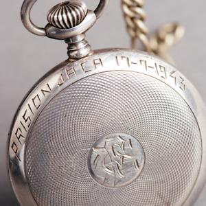 "1943 Junghans pocket watch ""Prision Jaca 17-9-1943"" mens vintage"