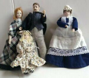 1:12 DOLLHOUSE DOLLS PORCELAIN VICTORIAN FAMILY OF 4 MOM DAD GIRL NANNY LOT SET