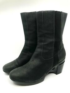 Cole Haan Black Suede Boot  Rubber Wedge Mid Calf Pull On Rubber Sole Size 11