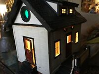 """Primitive folk art house,28"""",Meticulous crafts work, early 20th c,New Hampshir"""