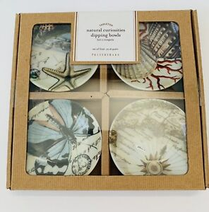 Pottery Barn Natural Curiosities 4 Dipping Bowls Seashells Butterfly New In Box