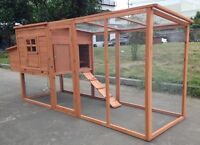 """95"""" Wood Hen Chicken Duck poultry Run Hutch House Coop Cage with nesting boxes"""