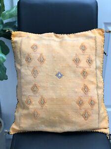 Moroccan Cactus silk mustard yellow pillow cover handmade sabra cushion item54