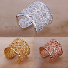 STATEMENT HEARTS RING in Silver, Gold or Rose Gold Plate. Thumb/Wrap ADJUSTABLE