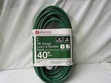 Utilitech 16 Gauge Lawn & Garden Cord ~ 40ft/13A/125V/1625W ~ Part #70302
