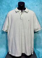 "IZOD Men's Golf Polo Rugby Shirt S/S XL Green/White Striped ""IZ"" Logo NEW"