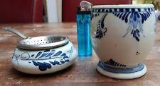 HAND PAINTED PORCELAIN DUTCH DELFT BLUE TEA BAG HOLDER STRAINER+ MUG CUP ANTIQUE