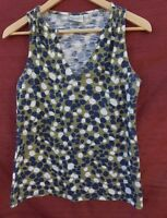 PORRIDGE medium blue & green POLKA DOT sleeveless Blouse Rayon blend