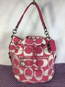 COACH Poppy 17930 Signature Canvas Leather Drawstring Handbag Shoulder Bag Purse