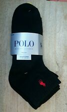 Polo Ralph Lauren Mens 4 Pair Classic Ankle Sport Socks Black NEW